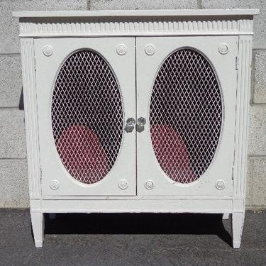 Antique Cabinet Nightstand Vintage Regency French Provincial Bedside Table Metal Mesh Shabby Chic Bedroom Storage CUSTOM PAINT AVAIL by DejaVuDecors