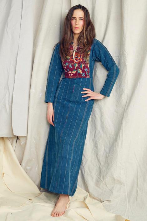 1970s Denim and Needlework Maxi Dress Vintage Boho Gypsy 34 Bust by AmalgamatedShop
