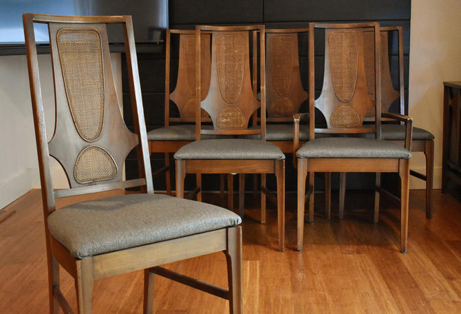 Six vintage Broyhill Brasilia walnut dining chairs w/new upholstery by MidCenturyClever
