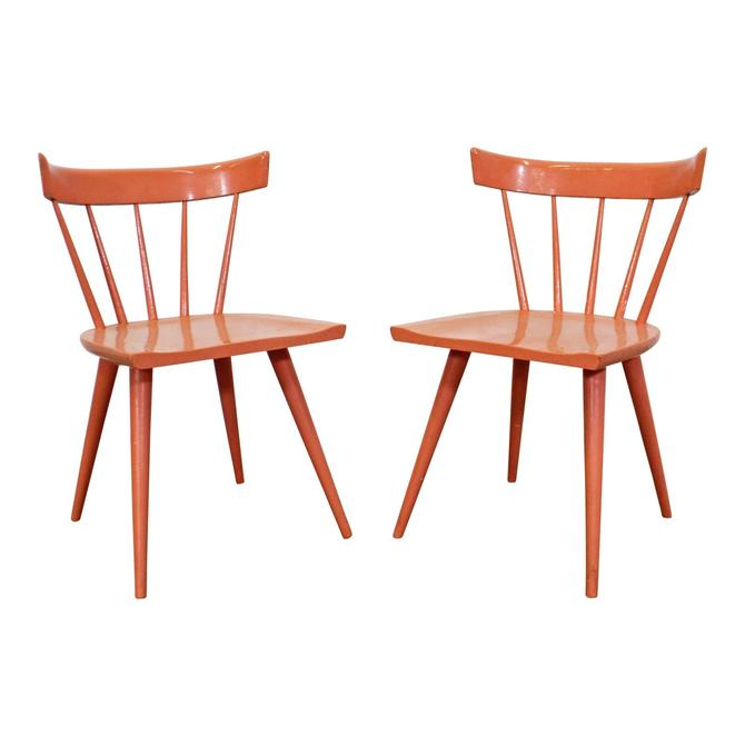 Paul McCobb Chairs Pair Mid-century Modern Orange Spindle Back Chairs by Paul McCobb Planner Group by AnnexMarketplace