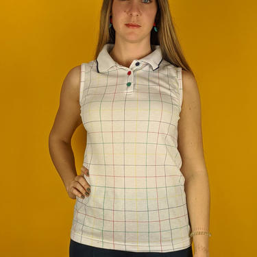 80s Retro Colorful Grid Pattern Sleeveless Top (Vintage VTG), Geek Mod Hipster Boho Festival Party Multicolor Button Up Shirt / Blouse by JellyDigs