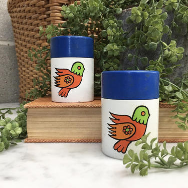 Vintage Salt and Pepper Shakers Retro 1970s Birds + Flowers + Plastic + Set of 2 Matching + Seasoning + Home and Kitchen Decor by RetrospectVintage215