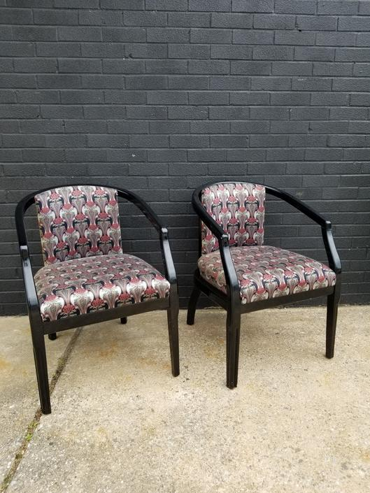 Pair of Black Lacquer Arm Chairs