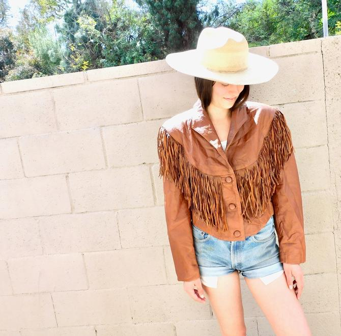 Pioneer Wear Jacket // vintage 70s 80s brown southwestern leather boho country western hippie dress fringe cropped // O/S by FenixVintage