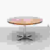 Pastoe 1970's Oak and Chrome Pedestal Table