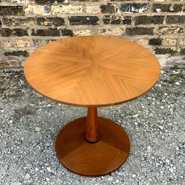 Vintage Drexel Declaration Collection Walnut Round Side Table by Kipp Stewart