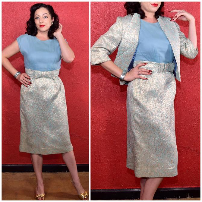 1950s 60s Metallic Brocade Dress and Jacket by THEGIRLCANTHELPITUSA
