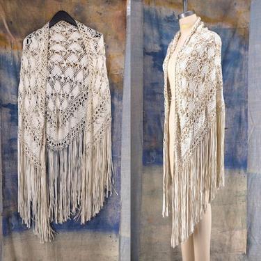20s romantic knotted silk ribbon Deco fringe shawl / vintage 1920s antique ivory crochet flapper large wrap cape by ritualvintage