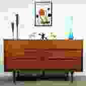 Elegant Minimalistic Walnut MCM Dresser Credenza
