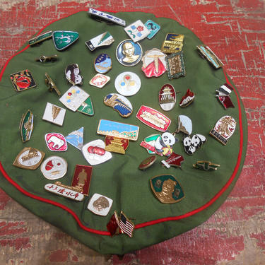 Vintage Chinese Communist Party Military Single Red Star Beret 47 Souvenir Pins Green Red Hat Cap Red Army Authentic Genuine Mao Cap Asian by kissmyattvintage