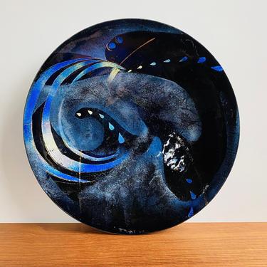 "Mid-century enamel dish signed Betty John '59 / stunning 11"" bowl in iridescent blue / MCM vintage decor by EarthshipVintage"