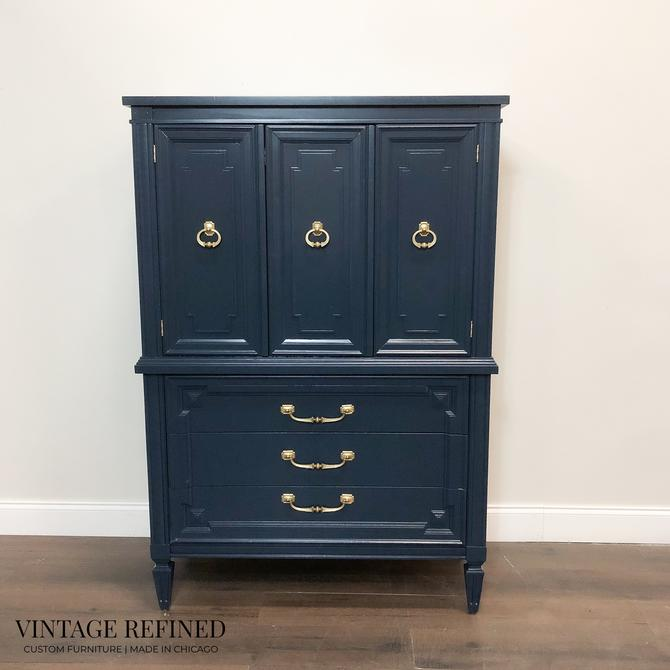 AVAILABLE: Navy Lacquer Armoire / Chest of Drawers by VintageRefinedDecor
