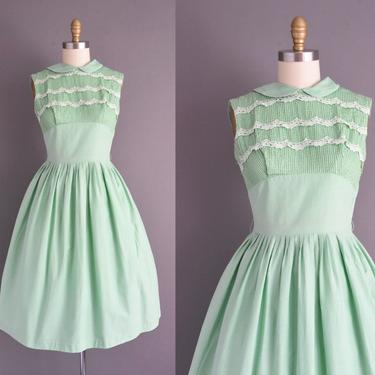 50s dress | Vicky Vaugh mint green cotton full skirt shirt dress | Small Medium | 1950s vintage dress by simplicityisbliss