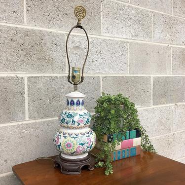 Vintage Table Lamp Retro 1980s Hand Painted + Asian + Porcelain + Ceramic + Floral Design Pattern + Mood Lighting + Home Decor by RetrospectVintage215