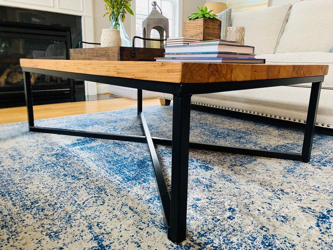 Free Shipping! The Campbell - Extra Large Reclaimed Wood Modern Style Coffee Table with Designer Industrial Metal Base by BarnWoodFurniture