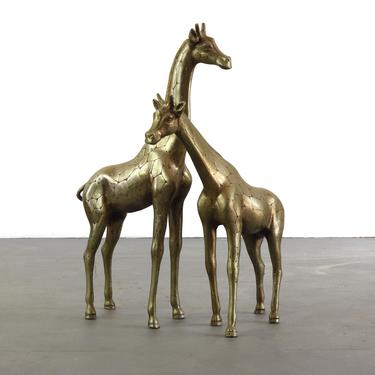 Artisan Hand Hammered Mid Century Giraffe Figures in Solid Brass - A Set of 2, Korea by ABTModern