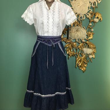 Jessicas gunnies, gunne sax skirt, denim skirt, vintage 70s skirt, prairie style, yoked waist, calico trim, boho style, 25 waist, jean skirt by BlackLabelVintageWA