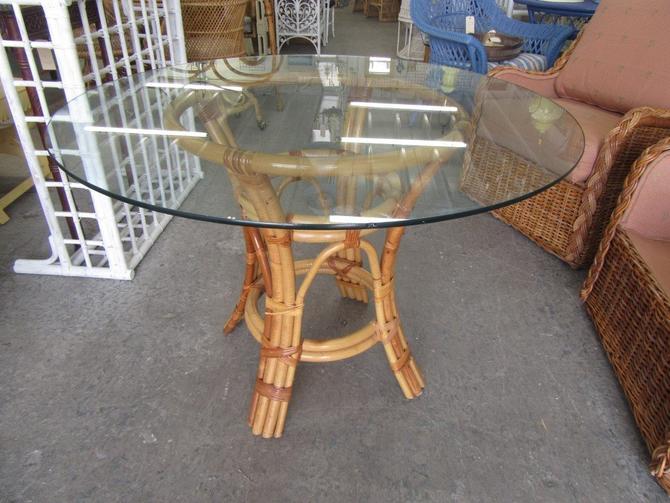 Island Style Rattan Glass Top Table