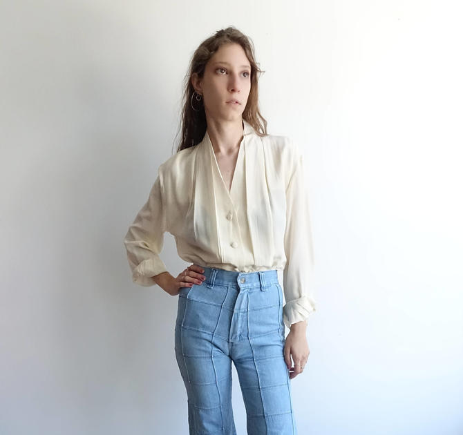 Vintage 90s Ivory Silk Blouse/ Secretary Button Up Pleated White Top/ Minimal/ Medium by bottleofbread