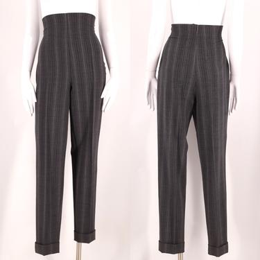 90s ROMEO GIGLI gray ultra high waisted pants 10 / vintage 1990s pinstripe toreador skinny skinny trousers Italy by ritualvintage