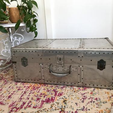 Aluminum Footlocker Steamer Trunk Traveling Steamer Case Trunk military industrial - Organization Case, Metal Luggage Chest by VintageCoreReStore