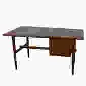 Mid-Century Modern Dark Walnut Banded Edge Desk