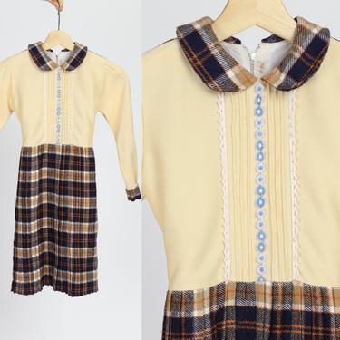 70s Mod Schoolgirl Plaid Dress - Girl's Medium | Vintage Long Sleeve Peter Pan Collar Kids Dress by FlyingAppleVintage