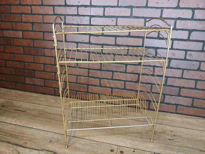 Tall Mid Century Gold Wire Record Rack Stand by RedsRustyRelics