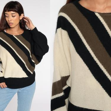80s Mohair Sweater DOLMAN Sleeve Sweater Black Striped Sweater Boho Pullover Knit 1980s Vintage Cream Small S by ShopExile