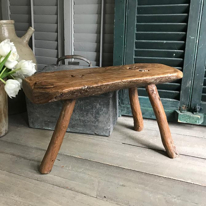 19th C Rustic French Wood Stool, Amazing Patina, Primitive Rustic Farmhouse by JansVintageStuff