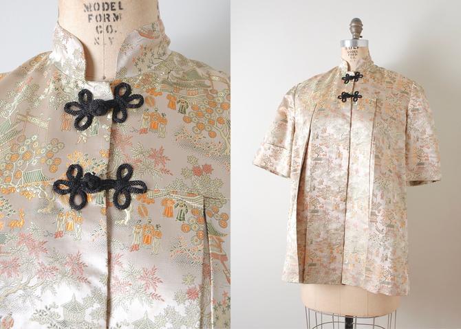 1950s Mandarin Collar Chinese Satin Brocade Smock Jacket by hemlockvintage