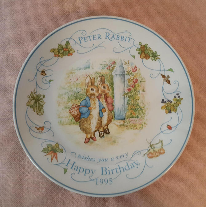 Vintage Beatrix Potter Nursery Ware 1995 Peter Rabbit Birthday Plate By Wedgwood by OverTheYearsFinds
