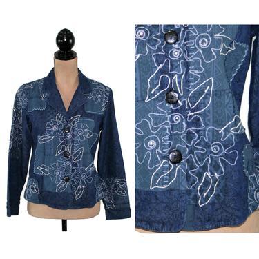 Floral Embroidered Patchwork Jacket, Cotton Batik Denim Blue, Colorblock Blazer Women Petite, Boho Clothes Vintage 90s Y2K Coldwater Creek by MagpieandOtis
