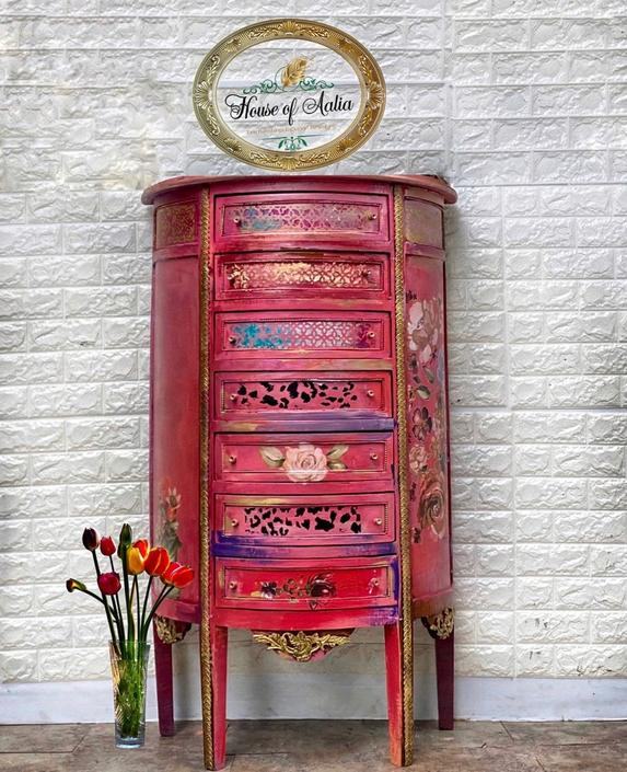 Vintage Pink and Gold French Curio Lingerie Chest. Floral lingerie chest. French provincial lingerie dresser.  Curio Cabinet. by HouseofAalia