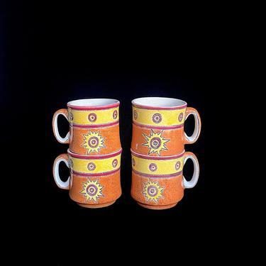 Vintage Modern Eduardo Vega of Cuenca Ecuador Set of 4 Pottery Mugs Artesa Pottery by SwankyChaperooo