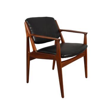 Arne Vodder Vamo Ella Teak Dining Arm Chair Black Leather Ellen Chair by HearthsideHome