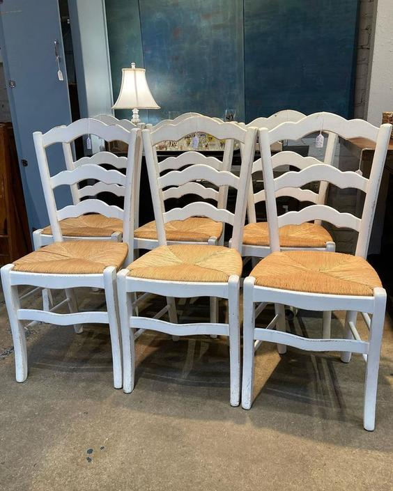 """French country style chairs. Seat is 17"""" wide 15.5"""" wide 18"""" tall. Back of chair is 39"""" tall."""