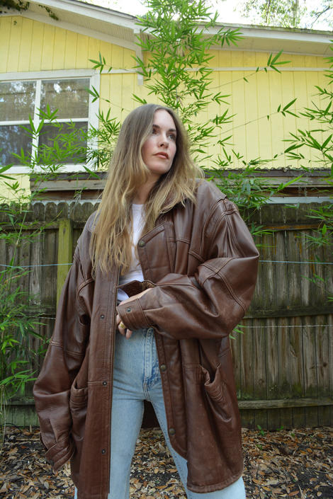 vintage brown leather coat / brown leather winter coat / oversized leather coat / brown leather jacket / oversized leather jacket / 90s coat by memoryjunkievintage