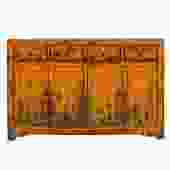 Chinese Distressed Rustic Orange Sideboard Buffet Table Cabinet cs5197S