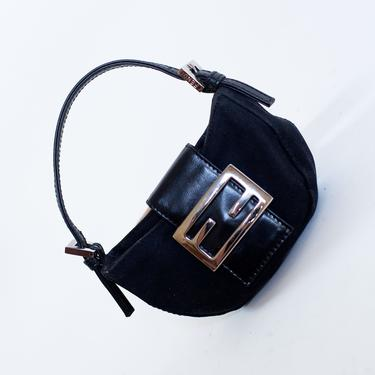 Vintage FENDI Micro Croissant Bag in Black Neoprene + Leather Monogram Zucca Mini Bag Y2K Silver Hardware Baguette by backroomclothing
