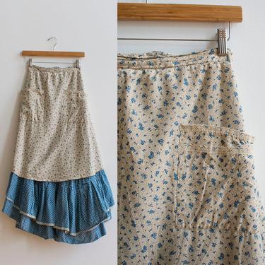 Vintage Prairie Skirt / Vintage Miniature Floral Skirt / Skirt with Built in Apron / Little House on the Prairie Skirt / Peasant Skirt Small by milkandice