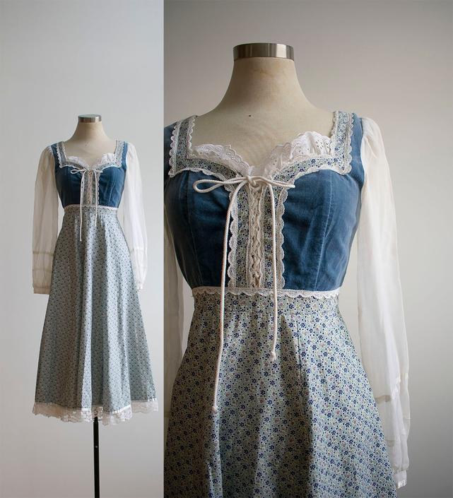 1970s Gunne Sax Dress / 1970s Floral Maxi Dress / Gunne Sax Gown / Mini Floral and Lace Gown / Vintage Bohemian Hippie Gown by milkandice