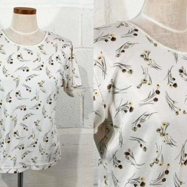 Vintage Fashion Bug Ribbed Tee Babydoll Baby Doll Floral Blouse Short Sleeve Shirt Top Hipster Olive Green 1990s 90s 2000s Y2K Medium Large by CheckEngineVintage