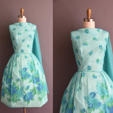 3e7a46d9820 ON LAYAWAY...vintage 1950s blue rose print chiffon full skirt ...