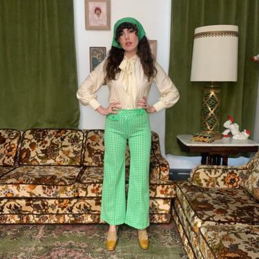 70's CHECKED FLARES - lime green and white - small by GlamItToHell