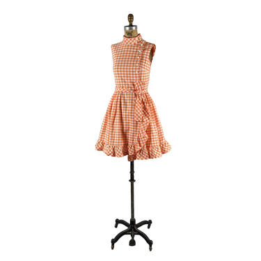 checkered past   vintage 1950s 1960s fit flare dress   gingham   vtg 50s 60s play dress   xs/s   extra small/small by danevintage