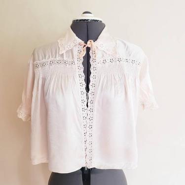 1930s Bed Jacket Cream Silk Eyelet Lace / 30s Short Sleeved Blouse Boudoir Jacket Shabby Chic Old Hollywood / Small / Norine by RareJuleVintage