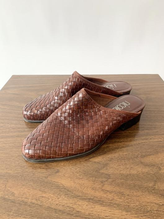 Woven Brown Leather Mules