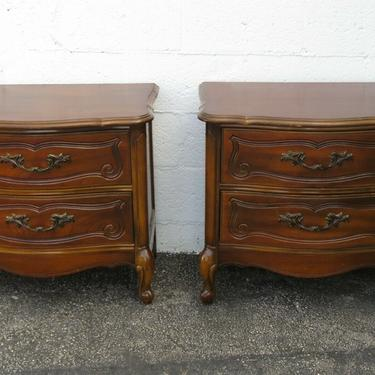 French Cherry Pair of Nightstands Side End Bedside Tables 2390