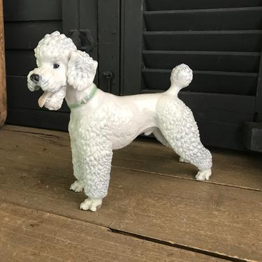 Rosenthal White Poodle Figurine, Made in Germany, Porcelain, 9 inch, Stamped, 1937, 1942 by JansVintageStuff